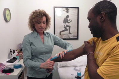 kinesio taping in room at Thrive SoHo